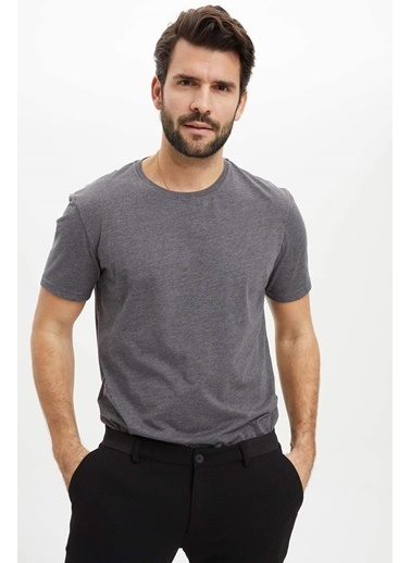 DeFacto Basic Regular Fit T-Shirt Antrasit